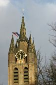 The tower of the old church in Delft