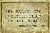 image of proverb  - The palest ink is better than the best memory  - JPG