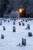 Woodland Cemetery in Stockholm, Sweden during winter