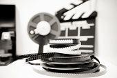 Vintage 8Mm Movie Editing Desktop In Black And White