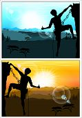 Silhouette Of Climber Showing Thumbs Up Against The Amazing Mountain Scenery. Version Of The Day And