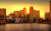 London sunset. Canary Wharf view from the Millwall dock