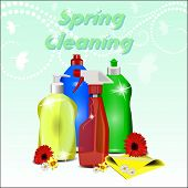 Different Detergents With Flowers On Pastel Background With A Pattern. Spring Cleaning.