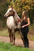 picture of appaloosa  - Amazing girl standing next to the appaloosa horse in autumn - JPG
