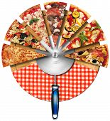 foto of cutting board  - Pizza slices on the cutting board with red checked tablecloth and steel pizza cutter - JPG