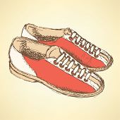 stock photo of snickers  - Sketch bowling shoes in vintage style vector - JPG