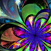 Flower Background. Blue, Purple And Green Palette. Fractal Design. Computer Generated Graphics.