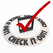 Check It Out words on a check box and mark inside a ring telling you to inspect or explore an area or topic