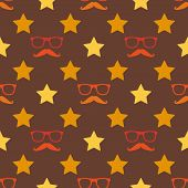 Vector hipster moustache and spectacles seamless pattern