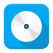 Cd Dvd Flat App Icon With Long Shadow
