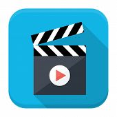 Clapboard Play Flat App Icon With Long Shadow
