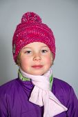 Girl With With Scarf And Woolen Hat