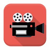 Movie Camera Flat App Icon With Long Shadow