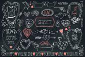 Valentine day,wedding icon,frames,ribbon decor set.Chalkboard