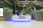 BANGKOK, THAILAND - NOV 07: Suvarnabhumi Airport interior on November 07, 2014. Suvarnabhumi Airport is one of two international airports serving Bangkok.