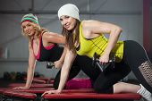 Two Females Train In Gym With Dumbbells