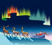 Santa Claus sleighing under northern lights