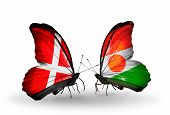 Two Butterflies With Flags On Wings As Symbol Of Relations Denmark And Niger