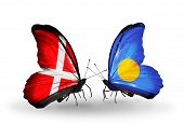 Two Butterflies With Flags On Wings As Symbol Of Relations Denmark And Palau