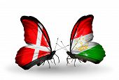 Two Butterflies With Flags On Wings As Symbol Of Relations Denmark And Tajikistan