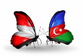 Two Butterflies With Flags On Wings As Symbol Of Relations Austria And Azerbaijan