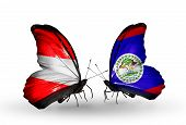 Two Butterflies With Flags On Wings As Symbol Of Relations Austria And Belize