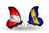 Two Butterflies With Flags On Wings As Symbol Of Relations Austria And Barbados