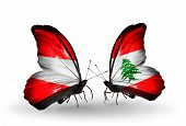 Two Butterflies With Flags On Wings As Symbol Of Relations Austria And Lebanon