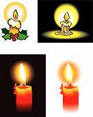 Set of burning candles