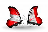 Two Butterflies With Flags On Wings As Symbol Of Relations Austria And Malta