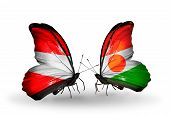 Two Butterflies With Flags On Wings As Symbol Of Relations Austria And Niger