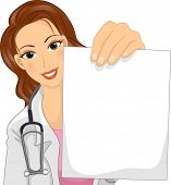Illustration of a Female Doctor in a Lab Coat Holding a Blank Piece of Paper