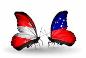 picture of samoa  - Two butterflies with flags on wings as symbol of relations Austria and Samoa - JPG