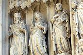 VIENNA, AUSTRIA - OCTOBER 10: Statue from west portal of gothic church Maria am Gestade in Vienna, Austria on October 10, 2014.
