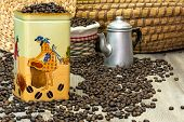 Постер, плакат: Coffee fresh aromatic coffee beans in a metal box with coffee pot