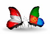 Two Butterflies With Flags On Wings As Symbol Of Relations Austria And Eritrea