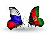 Two Butterflies With Flags On Wings As Symbol Of Relations Russia And Afghanistan
