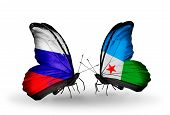Two Butterflies With Flags On Wings As Symbol Of Relations Russia And Djibouti
