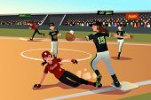 picture of softball  - A vector illustration of women playing softball - JPG