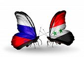 Two Butterflies With Flags On Wings As Symbol Of Relations Russia And Syria