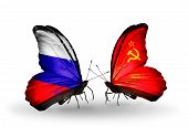 Two Butterflies With Flags On Wings As Symbol Of Relations Russia And Soviet Union