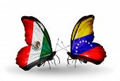 Two Butterflies With Flags On Wings As Symbol Of Relations Mexico And Venezuela