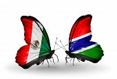 Two Butterflies With Flags On Wings As Symbol Of Relations Mexico And Gambia