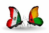Two Butterflies With Flags On Wings As Symbol Of Relations Mexico And Guinea Bissau