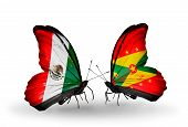 Two Butterflies With Flags On Wings As Symbol Of Relations Mexico And Grenada