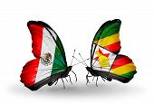 Two Butterflies With Flags On Wings As Symbol Of Relations Mexico And Zimbabwe
