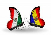 Two Butterflies With Flags On Wings As Symbol Of Relations Mexico And Moldova