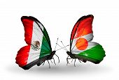 Two Butterflies With Flags On Wings As Symbol Of Relations Mexico And  Niger