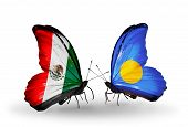 Two Butterflies With Flags On Wings As Symbol Of Relations Mexico And Palau