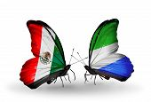 Two Butterflies With Flags On Wings As Symbol Of Relations Mexico And Sierra Leone